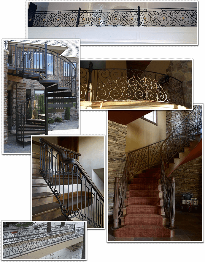 Collage of Custom Wrought Iron Railings, Stair Railings, and Other Pieces Fabricated by Accent Ornamental Iron & Powder Coating